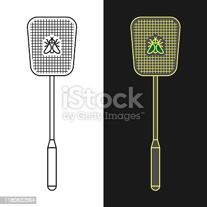 Fly swatter. Anti-fly weapon simple illustration. Flyswatter insect killing tool. Adjustable stroke width.
