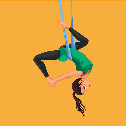 fly yoga flat poster with girl in sportswear doing