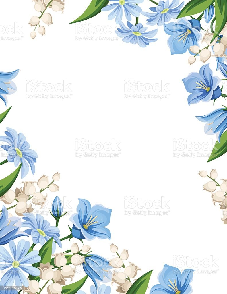 Flyer background with spring flowers. Vector illustration. ベクターアートイラスト