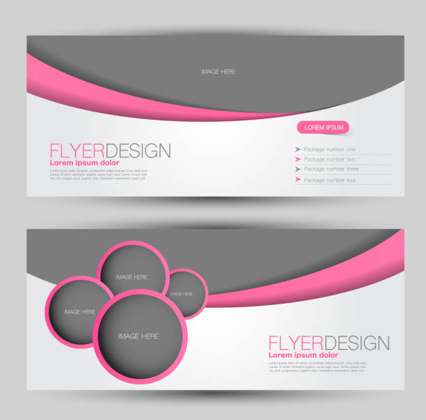 flyer banner or web header template set. vector illustration promotion design background. pink color. - email templates stock illustrations