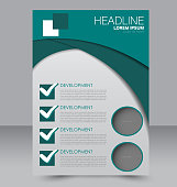 Brochure template. Business flyer. Annual report cover. Editable A4 poster for design education, presentation, website, magazine page. Green color.