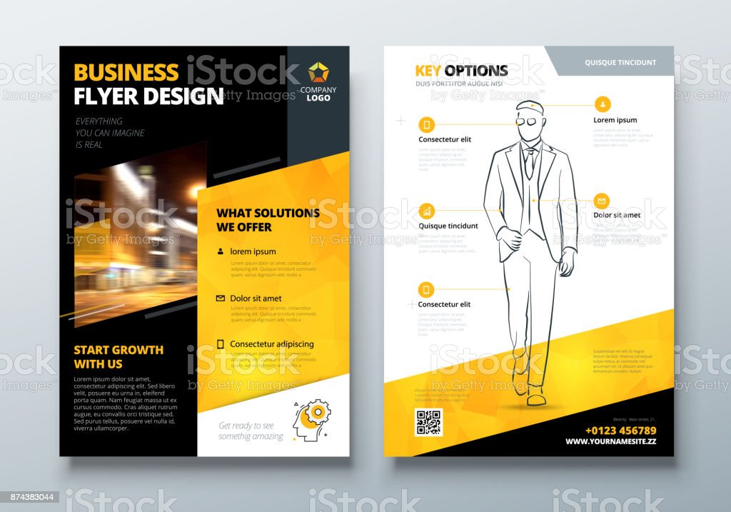Black Yellow Corporate Business Template For Brochure Report Catalog Magazine