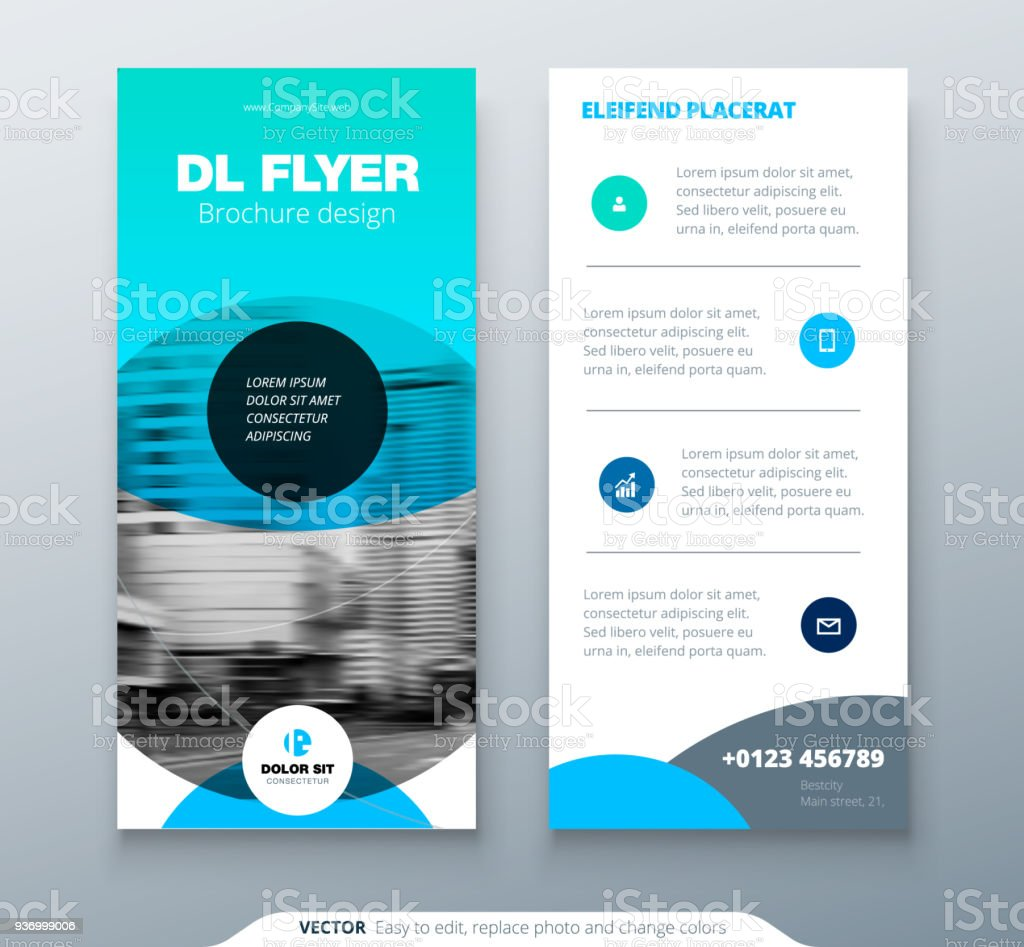 Dl Flyer Design Blue Business Template For Dl Flyer Layout With
