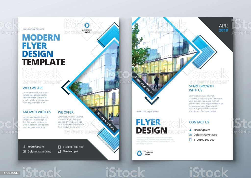 Flyer design. Corporate business report cover, brochure or flyer design. Leaflet presentation. Teal Flyer with abstract circle, round shapes background. Modern poster magazine, layout, template. A4. – Vektorgrafik