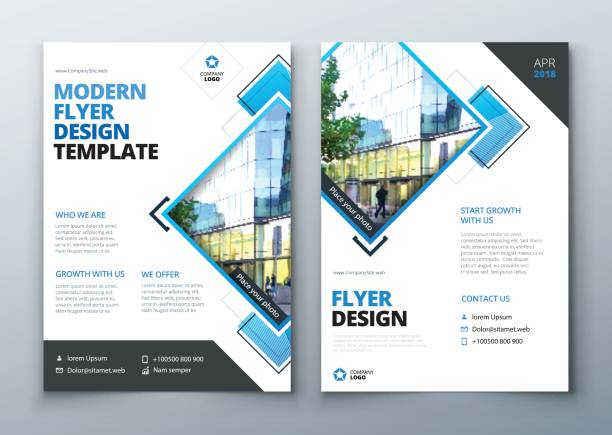 Flyer design. Corporate business report cover, brochure or flyer design. Leaflet presentation. Teal Flyer with abstract circle, round shapes background. Modern poster magazine, layout, template. A4. vector art illustration