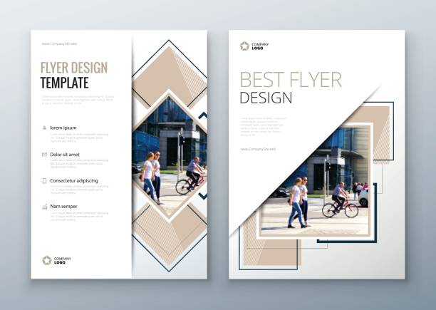 flyer design. corporate business report cover, brochure or flyer design. leaflet presentation. teal flyer with abstract circle, - fashion backgrounds stock illustrations, clip art, cartoons, & icons