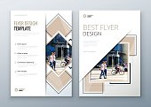 Flyer design. Corporate business report cover, brochure or flyer design. Leaflet presentation. Teal Flyer with abstract circle,