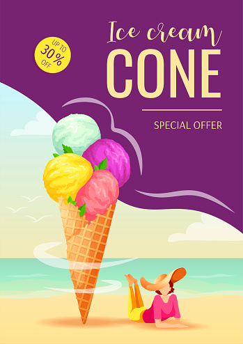 Flyer design for Ice cream shop or parlor, Sweet products, Dessert, Summer. Ice cream cone and woman lying on the beach.