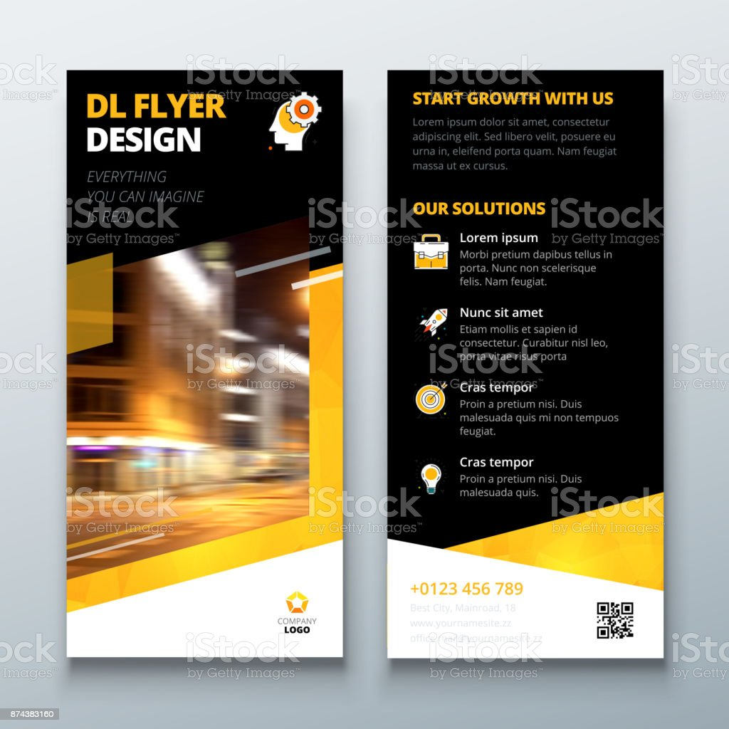 Dl Flyer Design Layout Black Yellow Dl Corporate Business Template