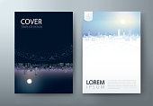 Flyer design, Leaflet cover presentation, book cover template, layout in A4 size. City night and day image. Vector.