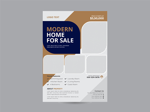 Flyer design. Real Estate flyer brochure or flyer design.Real estate banner Teal Flyer with abstract circle, Leaflet presentation, round shapes background. Modern poster magazine