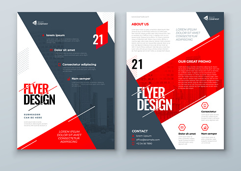 Flyer Design. Red Modern Flyer Background Design. Template Layout for Flyer. Concept with Dynamic Line Shapes. Vector Background.