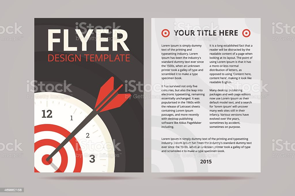 Flyer Design Template With Time Management Illustration Stock Vector