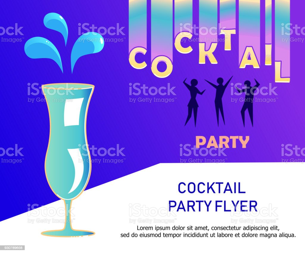 flyer for night cocktail party stock illustration - download image now