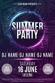 Flyer for the Summer Party. Abstract neon round banner with flying luminous geometric particles. Dance night party. Triangles. Plexus style. The names of the club and DJ. Vector illustration
