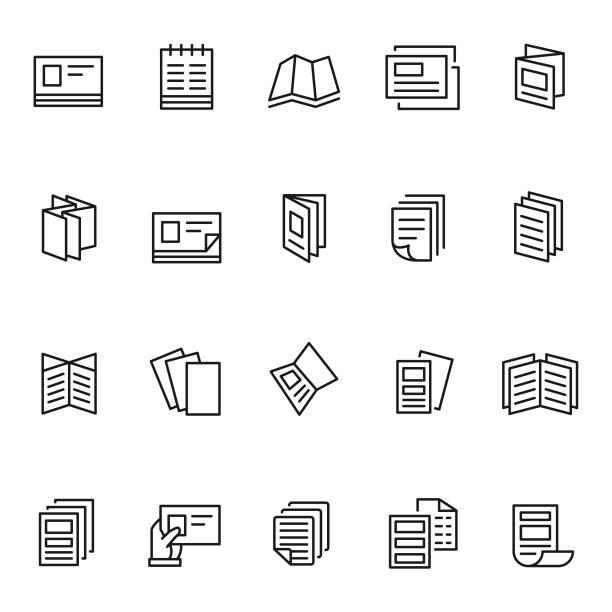 zestaw ikon ulotki - broszura stock illustrations