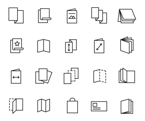 el ilanı icon set - broşür stock illustrations