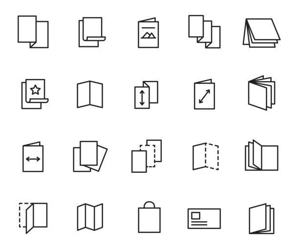 flyer icon set - оттиск stock illustrations