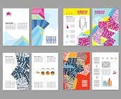Flyer, leaflet, booklet layout set. Editable design template. A4 2-fold brochure with abstract elements, infographics