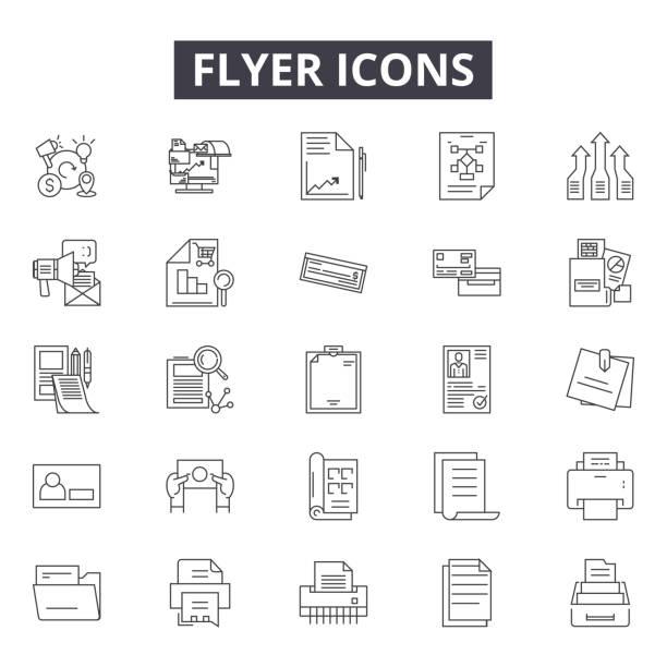 web ve mobil tasarım için flyer çizgi simgeleri. düzenlenebilir kontur işaretleri. flyer anahat kavramı illüstrasyonları - sokmak stock illustrations