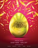 Flyer of Eggs in Gold Color for Easter Day Banner or Brochure With Realistic Shine Gold Light and Beautiful Backdrop on the Red background and Golden Confetti Flying on Top Look Like Movie Poster.Vector illustration. EPS10.