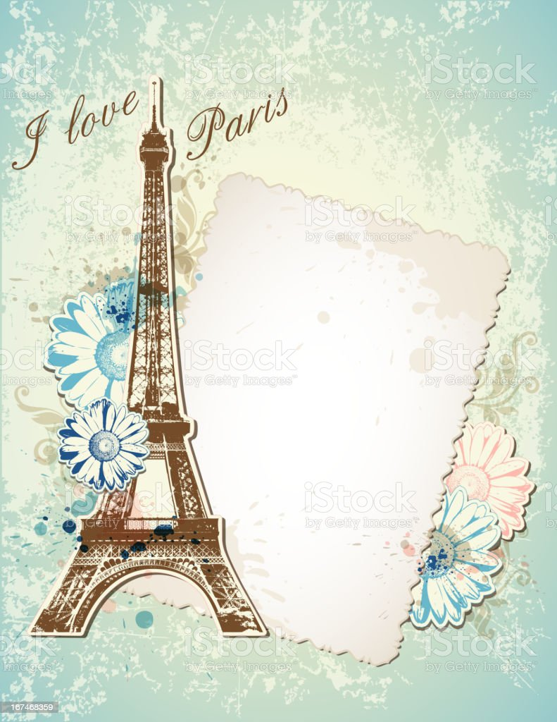 Flyer of the Eiffel Tower and an old letter royalty-free stock vector art