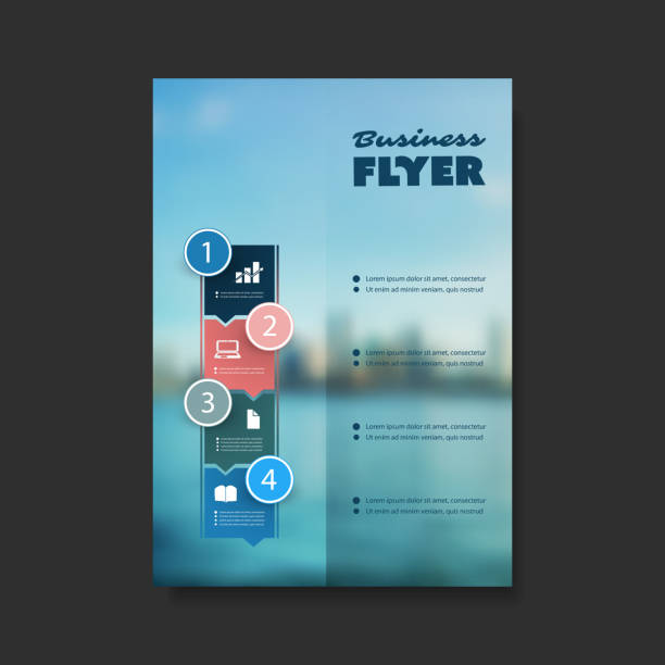 flyer or cover design - blurred skyline - river paper stock illustrations, clip art, cartoons, & icons
