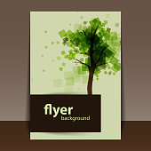 Tree with Green Leaves - Abstract Flyer or Cover Design in Editable Vector Format