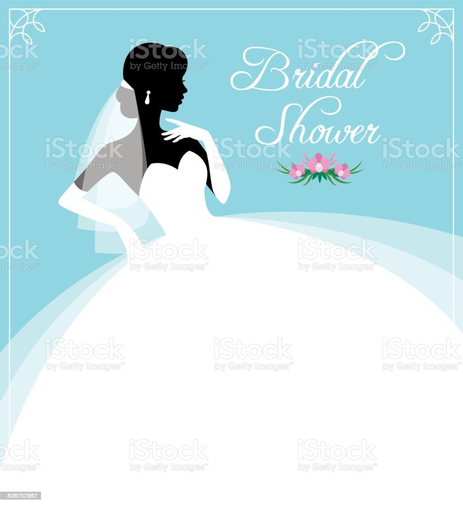 Flyer or invitation for a bridal shower. Silhouette portrait of a bride in profile in a wedding dress and veil. vector art illustration