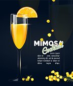 Flyer or poster design with mimosa cocktail on black background. Vector illustration