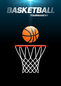 Flyer or web banner design with basketball hoop and ball icon