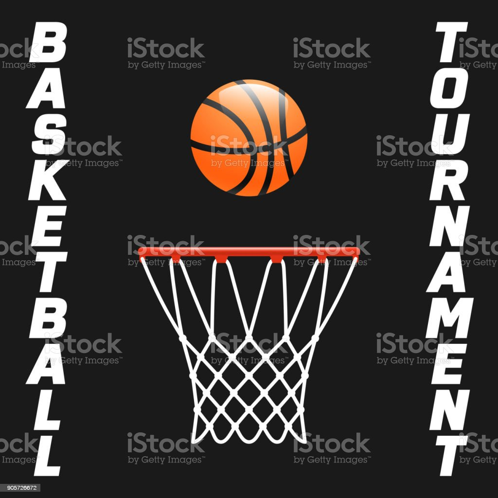 Flyer or web banner design with basketball hoop and ball icon vector art illustration