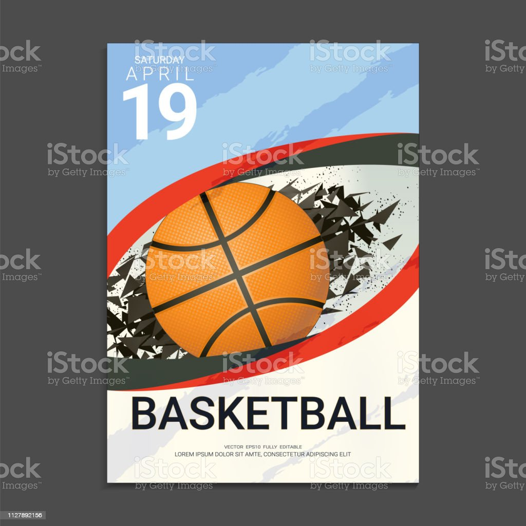 Flyer & Poster Cover design template for Basketball tournament or championship, Editable graphic element in blue, grey and white colours.