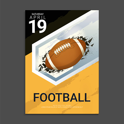 Flyer & Poster Cover design template for Football tournament or championship, Editable graphic element in orange, grey and black colours.