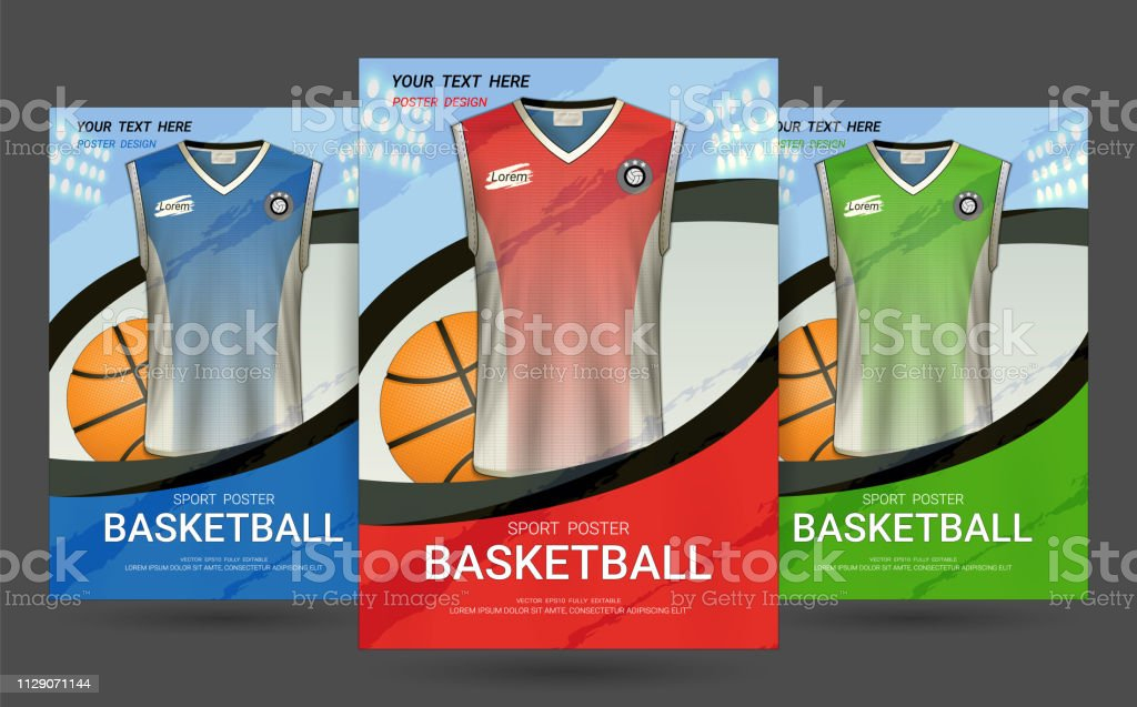 Flyer & Poster Cover design template with Basketball jersey and t-shirt sport mockup uniform, Editable graphic element in red, blue and green colors. (EPS10 vector fully editable and color change)