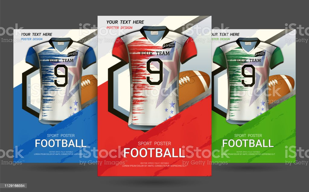 Flyer & Poster Cover design template with Football jersey and t-shirt...