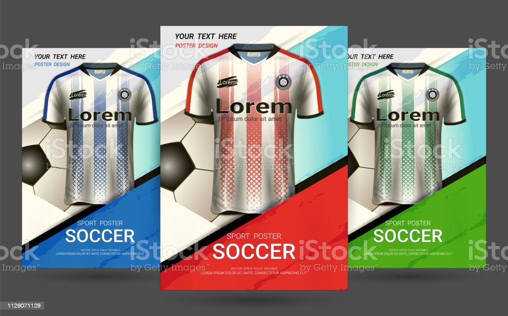 Flyer & Poster Cover design template with Soccer jersey and t-shirt...