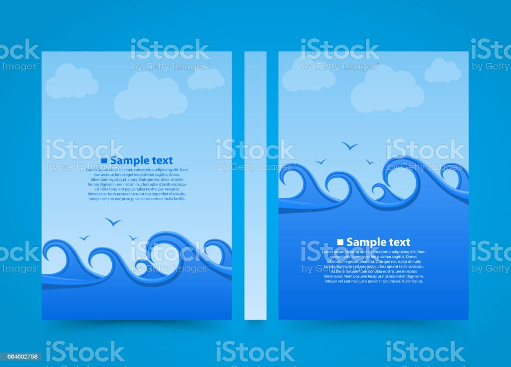 flyer sea wave banner book summer beach a4 size paper