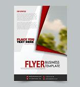 Flyer template. Design for a business, education, advertisement brochure, poster or pamphlet. Vector illustration. Red color.