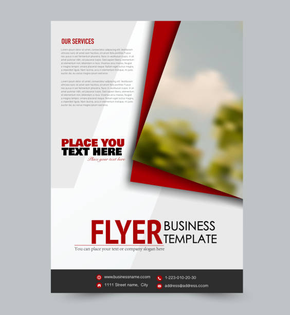 Flyer template. Design for a business, education, advertisement brochure, poster or pamphlet. Vector illustration. Red color. - illustrazione arte vettoriale