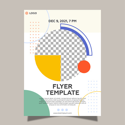 Flyer template for geometric shapes. Colorful design and gray background.