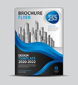 Flyer template for promotion, leaflet design, brochure layout, cover design, annual report cover, modern concept design, Blue wave background, vector Eps10