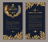 Flyer design layout template. Vector illustration. Business brochure design with golden laurel wreath and gold confetti on dark background. Glittering premium vip design. Golden Olive branches Decor