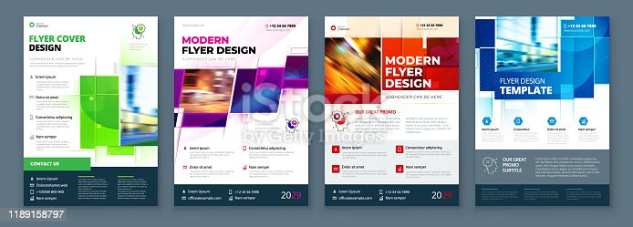 istock Flyer Template Layout Design. Corporate Business Flyer, Report, Catalog, Magazine Mockup. Creative modern bright concept with square shapes 1189158797