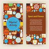 Flyer Template of Sport and Fitness Objects and Elements. Flat Style Design Vector Illustration of Brand Identity for Workout and Dieting Promotion. Colorful Pattern for Advertising.