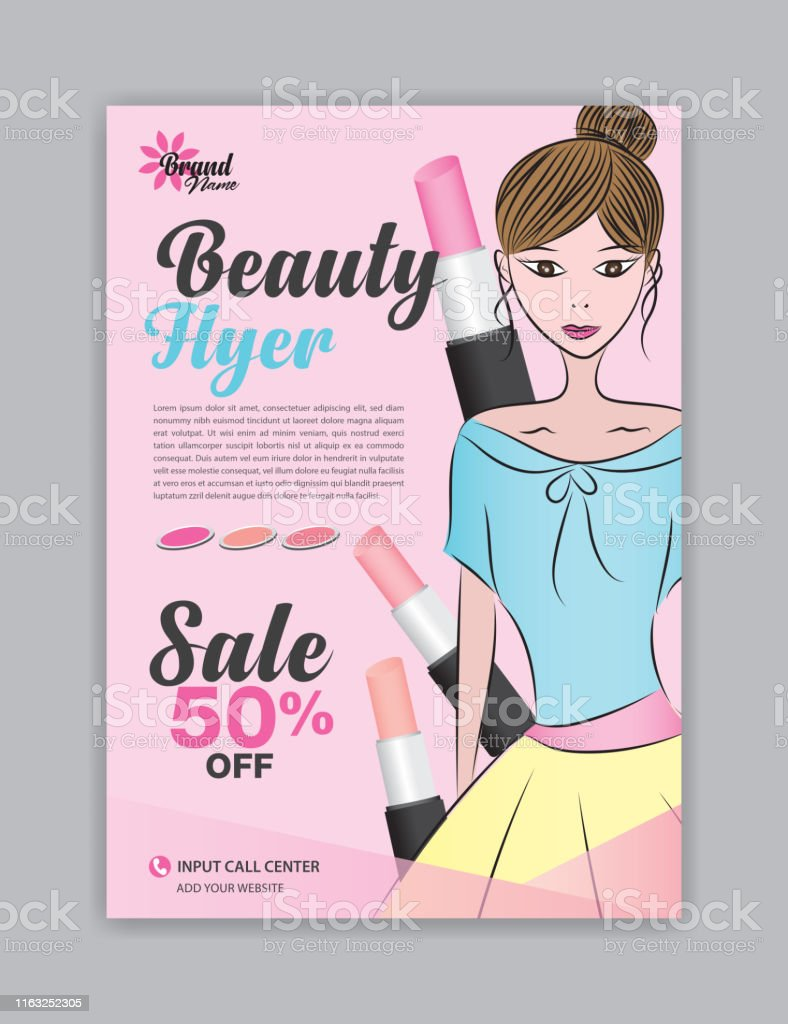 Flyervorlage Mit Schönen Frau Vektor Für Kosmetik Beautyanzeigen  Magazinanzeigenlayout Poster Broschüre Salon Broschüre Spa Werbung  Coverdesign