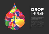 Abstract flyer template with colorful droplet made from small color drops - dark version
