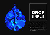 Abstract dark flyer template with blue droplet made from small drops