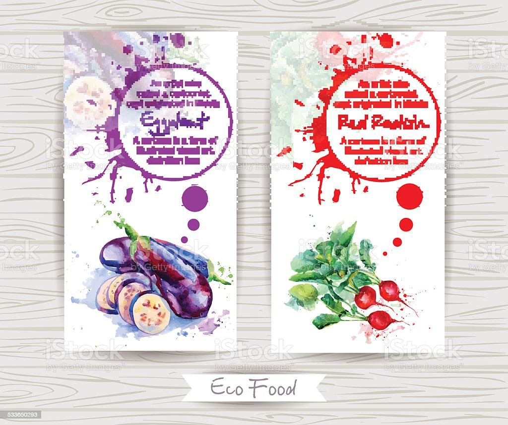 Flyer with radish and eggplant. Watercolor illustration. vector art illustration