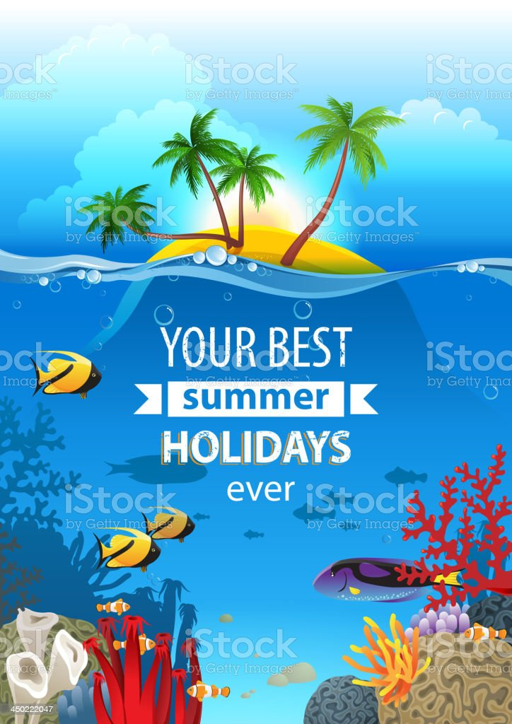 Flyer with tropical landscape of island and water life vector art illustration